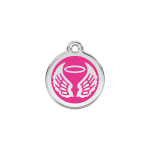 Red Dingo Dog Tag Angel Wings Hot Pink