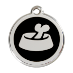 Red Dingo Dog Tag Bone in Bowl Black