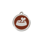 Red Dingo Dog Tag Bone in Bowl Brown