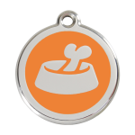 Red Dingo Dog Tag Bone in Bowl Orange