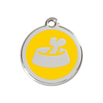 Red Dingo Dog Tag Bone in Bowl Yellow