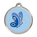 Red Dingo Dog Tag Butterfly Light Blue