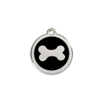 Red Dingo Dog Tag Bone Black