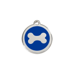 Red Dingo Dog Tag Bone Dark Blue