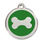 Red Dingo Dog Tag Bone Green