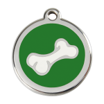 Red Dingo Dog Tag Cartoon Bone Green