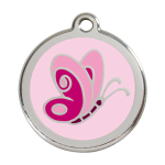 Red Dingo Dog Tag Butterfly Pink