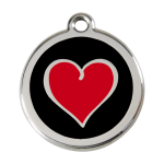 Red Dingo Dog Tag Coloured Heart Black