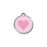 Red Dingo Dog Tag Coloured Heart Pink