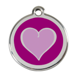 Red Dingo Dog Tag Coloured Heart Purple