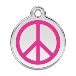 Red Dingo Dog Tag Peace Hot Pink