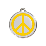 Red Dingo Dog Tag Peace Yellow