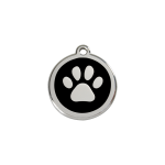 Red Dingo Dog Tag Pawprint Black