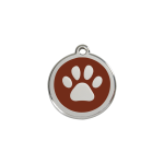 Red Dingo Dog Tag Pawprint Brown