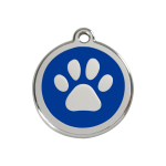 Red Dingo Dog Tag Pawprint Dark Blue