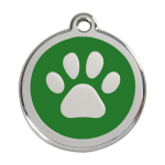 Red Dingo Dog Tag Pawprint Green