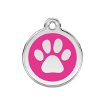 Red Dingo Dog Tag Pawprint Hot Pink
