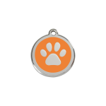 Red Dingo Dog Tag Pawprint Orange