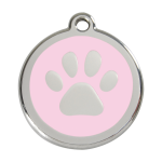 Red Dingo Dog Tag Pawprint Pink