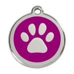 Red Dingo Dog Tag Pawprint Purple
