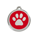 Red Dingo Dog Tag Pawprint Red