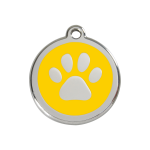 Red Dingo Dog Tag Pawprint Yellow