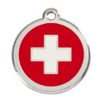 Red Dingo Dog Tag Swiss Cross Red