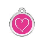 Red Dingo Dog Tag Tribal Heart Hot Pink