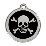Red Dingo Dog Tag Skull & Crossbones Black