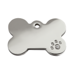 Red Dingo Dog Tag Diamante Bone Silver
