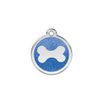 Red Dingo Dog Tag Glitter Bone Dark Blue
