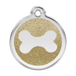Red Dingo Dog Tag Glitter Bone Gold