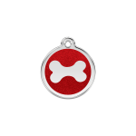 Red Dingo Dog Tag Glitter Bone Red