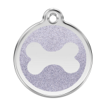Red Dingo Dog Tag Glitter Bone Silver