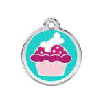 Red Dingo Dog Tag Glitter Cupcake Aqua