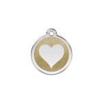 Red Dingo Dog Tag Glitter Heart Gold