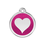 Red Dingo Dog Tag Glitter Heart Hot Pink