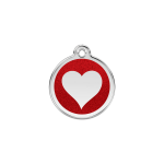 Red Dingo Dog Tag Glitter Heart Red