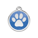 Red Dingo Dog Tag Glitter Paw Print Dark Blue