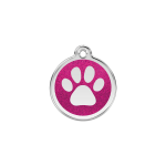 Red Dingo Dog Tag Glitter Paw Print Hot Pink
