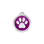 Red Dingo Dog Tag Glitter Paw Print Purple