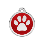 Red Dingo Dog Tag Glitter Paw Print Red