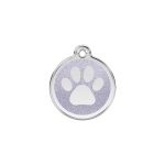 Red Dingo Dog Tag Glitter Paw Print Silver