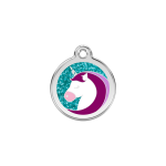 Red Dingo Dog Tag Glitter Unicorn Aqua