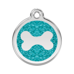 Red Dingo Dog Tag Glitter Bone Aqua