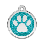 Red Dingo Dog Tag Glitter Paw Print Aqua