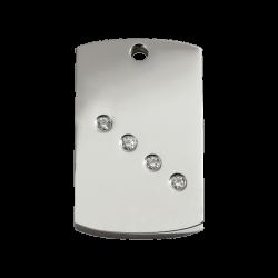 Red Dingo Dog Tag Diamante Rectangle Silver