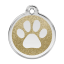 Red Dingo Dog Tag Glitter Paw Print Gold